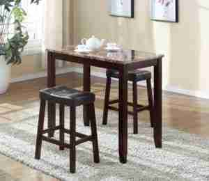 3. Roundhill Furniture 3 Piece Counter Height Glossy Print Marble Breakfast  Table With Stools