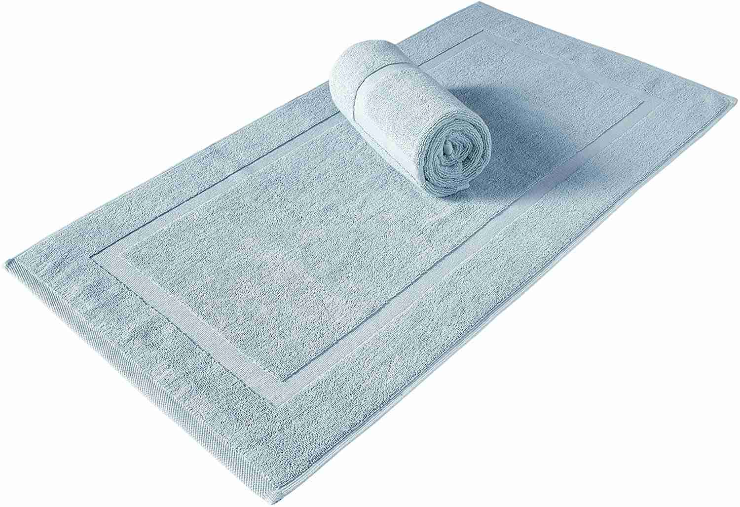 turkish cotton banded panel bath mat image