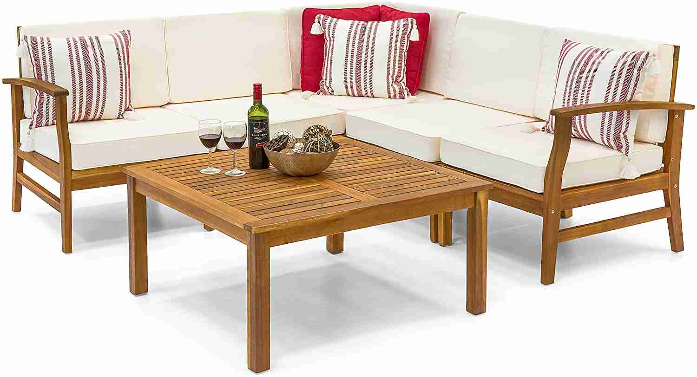 piece acacia wood l shape sectional sofa image