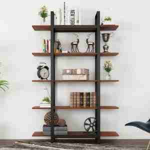 narrow five tier bookshelf