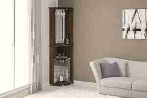 corner bar cabinet with two glass doors