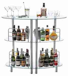 clear 3 level glass bar unit
