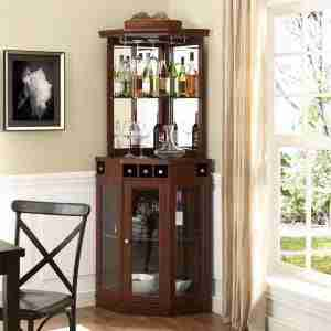 corner bar cabinet with storage for wine bottles