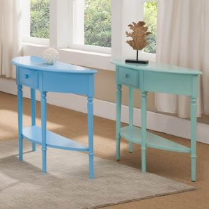 coastal or nautical themed demilune tables