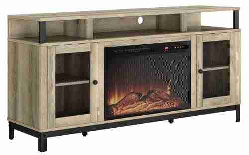 ameriwood wood electric fireplace tv stand