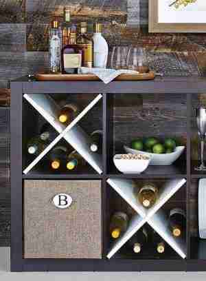 cube shelves for storage in the kitchen