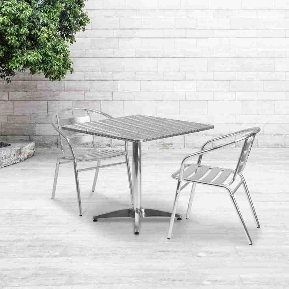 flash furniture square aluminum table