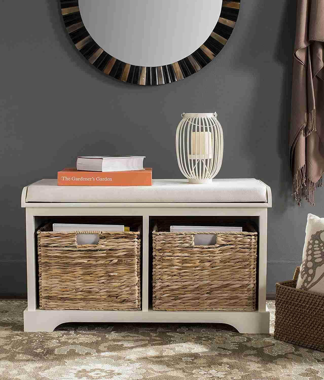 safavieh freddy brown wicker storage bench